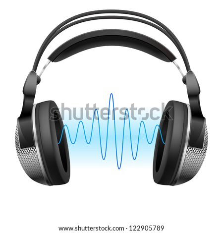 Realistic headphones and music wave.  Illustration on white background