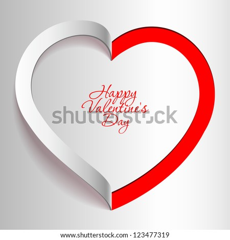 Realistic Heart cut out of paper. Valentine's day or Wedding vector background - stock vector