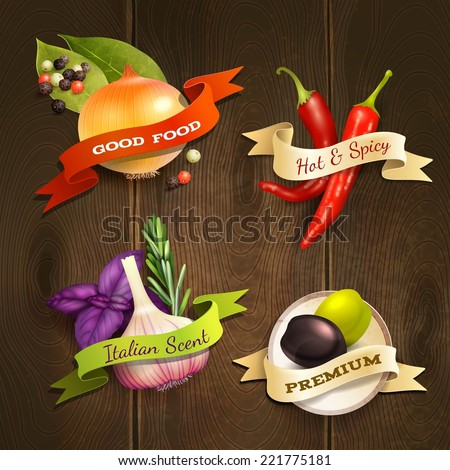 Realistic herbs and spices food decorative kitchen ribbon badges set on wooden background vector illustration - stock vector