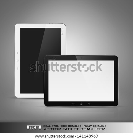 Realistic high detailed vector illustration of tablet computer on dark background. - stock vector
