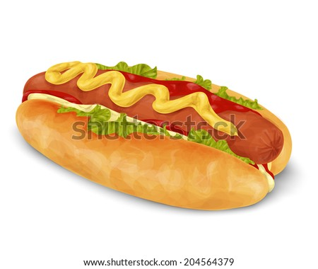 Realistic hot dog fast food isolated on white background vector illustration - stock vector