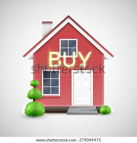 "Realistic house with neon ""BUY"" sign, vector"