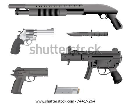 realistic illustration guns equipment - isolated - stock vector