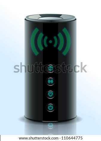 Realistic illustration of a 3D Wireless Home Router, network router with wireless transmission, Modem. Internet. Vector.eps 10 - stock vector