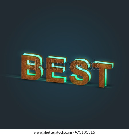 Realistic illustration of a word made by wood and glowing glass, vector