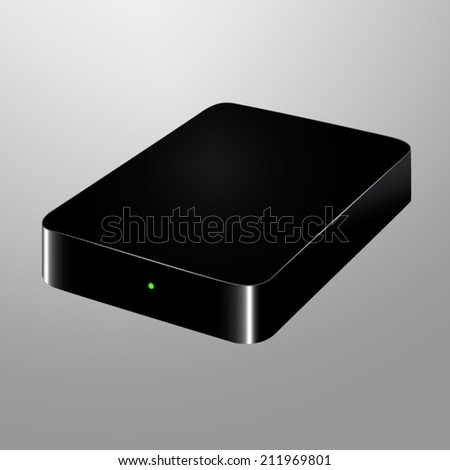 Realistic illustration of an external hard drive - stock vector