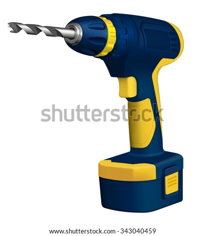Realistic illustration of cordless drill on white background - stock vector