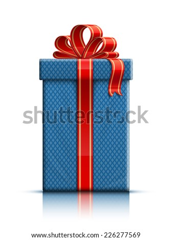 Realistic illustration of gift box with ribbon. Vector illustration - stock vector