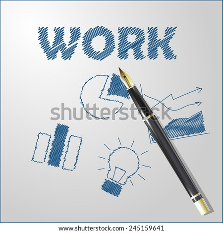 Realistic illustration of golden pen with shadows and lights with place for your text. Work - stock vector