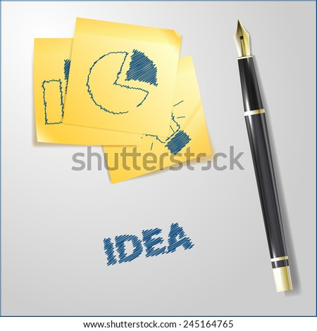 Realistic illustration of golden pen with sketches on yellow paper notes - stock vector