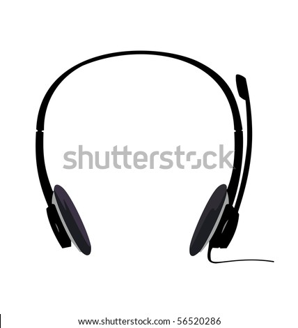 Realistic illustration of headset isolated on white background - vector - stock vector