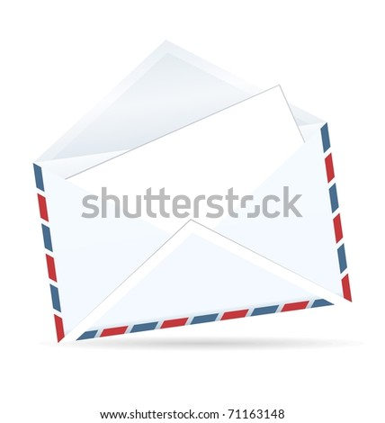 Realistic illustration of open envelope of post isolated on white background - vector - stock vector