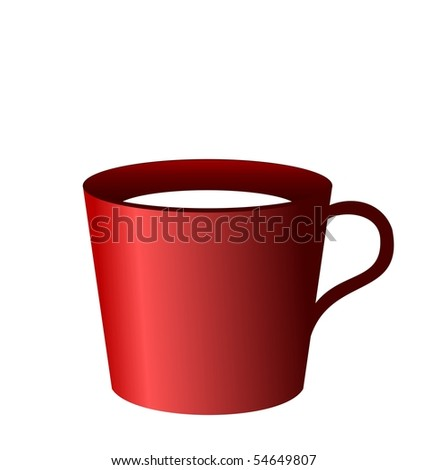 Realistic illustration of red cup isolated on white background - vector