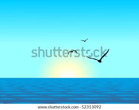 Realistic illustration of sea landscape - vector - stock vector