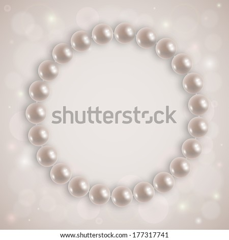 Realistic illustration of shiny pearl necklace on an abstract background