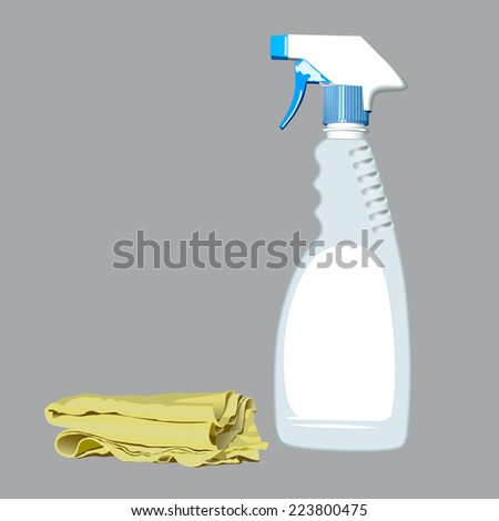 Realistic Illustration of spray bottle and rag for cleaning - stock vector
