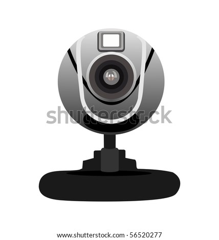 Realistic illustration of web camera isolated of white background - vector - stock vector