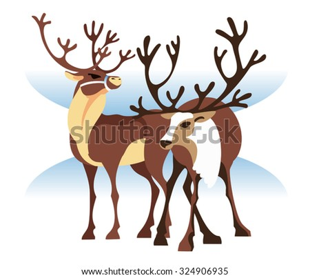 Realistic image of a pair of reindeer on a 