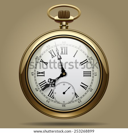Realistic image of old vintage clock face. Retro pocket watch. Vector Illustration - stock vector