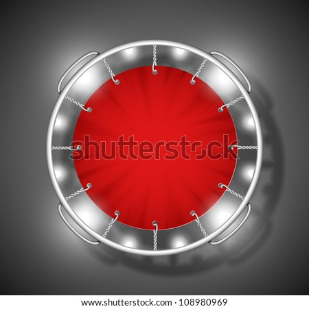 Realistic image of red trampoline on top. Eps 10 - stock vector