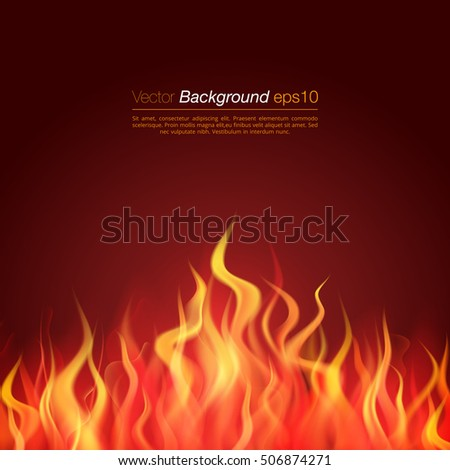 Realistic Inferno fire flame vector illustration. Burning creative multicolor template. Background design concept.