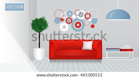 Realistic interior of a modern living room. Red design template. Mock-up. Vector illustration.