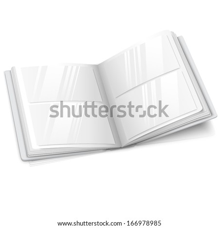 Realistic isolated on white blank vector opened photo album for your messages, design concepts, photos etc. With soft reflection and shadow. - stock vector