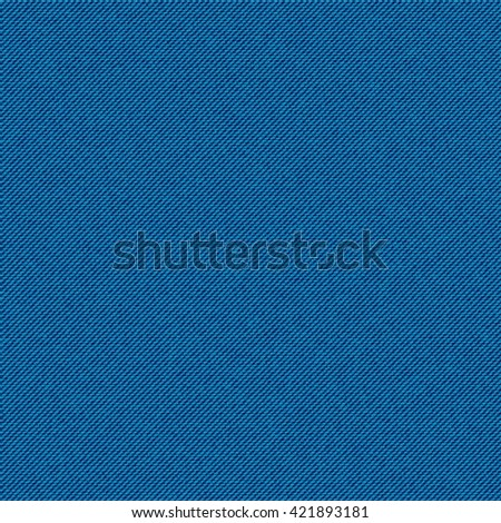 Realistic jeans seamless texture in cyan-blue colors. Denim pattern background. Vector illustration - stock vector