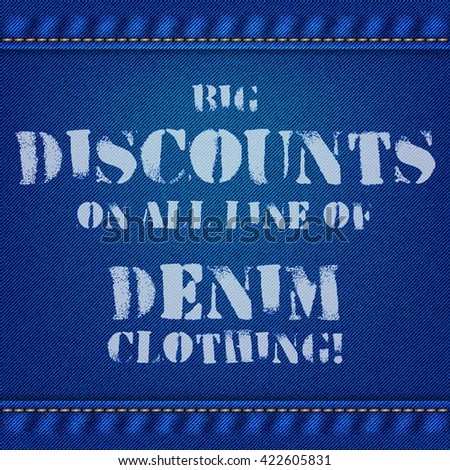 Realistic jeans texture in bright blue color with seams and thread stitches. Denim pattern background for products marketing. Sale and discount banners. Vector illustration