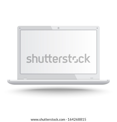 Realistic laptop vector on isolated white background - stock vector