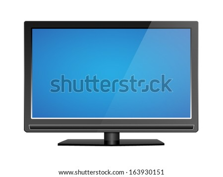 Realistic LCD tv illustration, with blank blue screen - stock vector