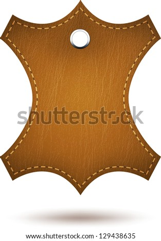 Realistic leather tag with stitches. Vector