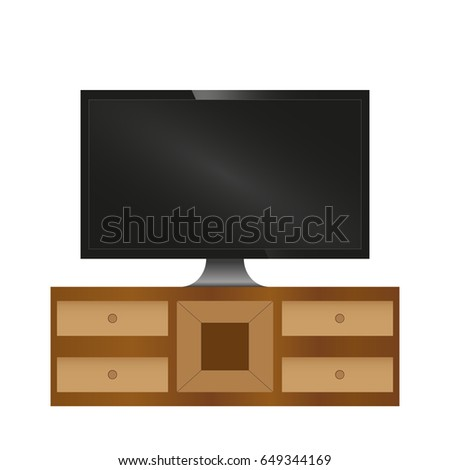 Realistic led TV on nightstand interior vector illustration. Living room.