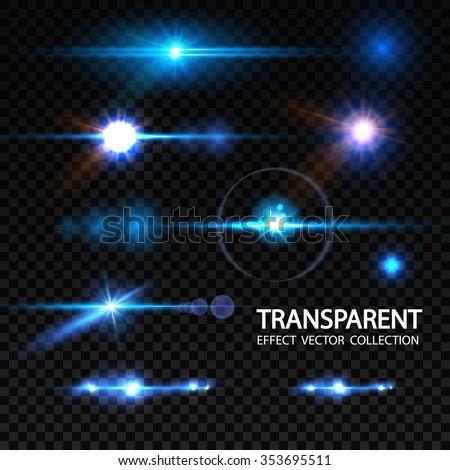Realistic Lens Flare Elements Collection. Light Effect Transparent Design. Vector illustration - stock vector