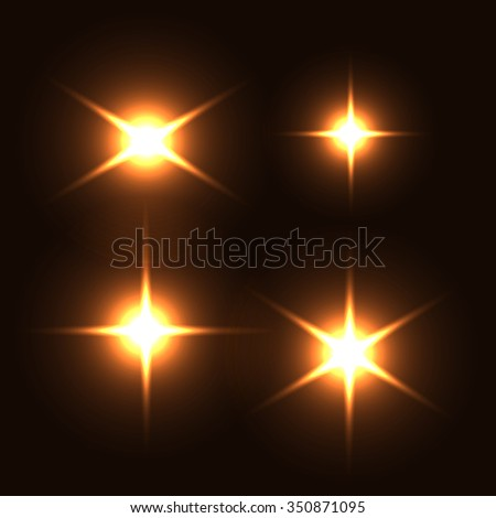 Realistic lens flares beams and flashes. Isolated. Editable - very easy to use. - stock vector