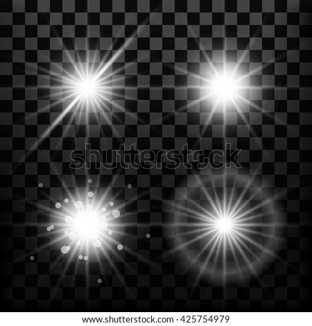 Realistic lens flares star lights and glow white elements isolated transparent black background. Set of sparkles. Vector illustration - stock vector