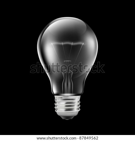 Realistic light bulb isolated on black (EPS10) - stock vector