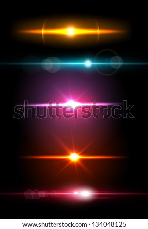 Realistic light glare sparkle, highlight set. Collection of beautiful bright lens flares. Lighting effects of flash. Easy to use.