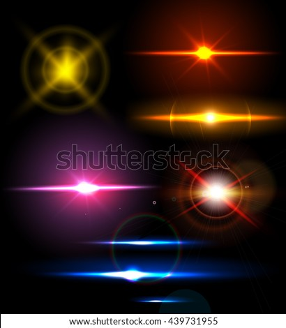 Realistic light glare sparkle, highlight set. Collection of beautiful bright lens flares. Lighting effects of flash. Easy to use. - stock vector
