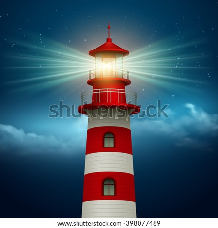 Realistic lighthouse  in the night sky background. Vector illustration EPS10 - stock vector