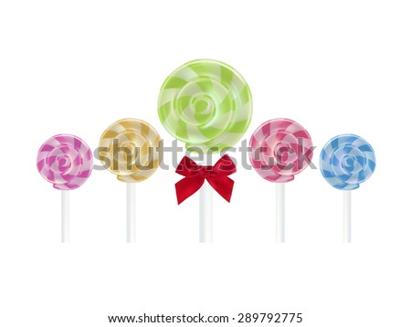Realistic lollipop sweet color 5 difference color, Vector food object - stock vector