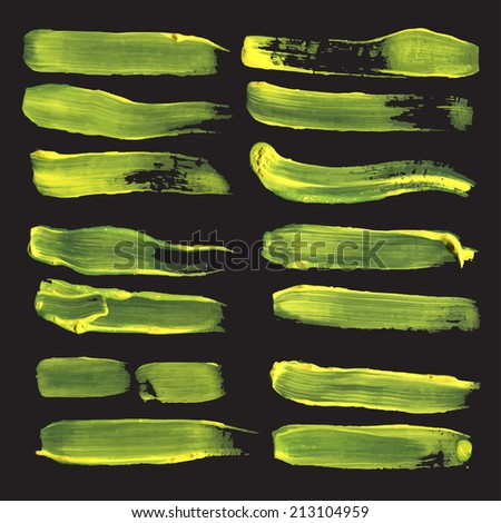 Realistic long straight strokes drawn thick yellow paint on black paper - stock vector