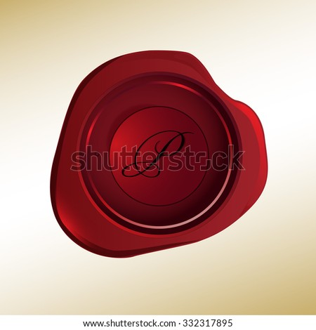 Realistic looking red wax stamp with the initial P - stock vector