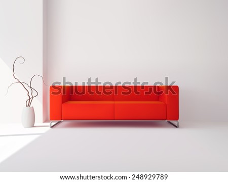 Realistic luxury apartment living room interior with red sofa and vase vector illustration - stock vector