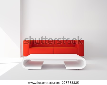 Realistic luxury apartment living room interior with red sofa and white table vector illustration - stock vector