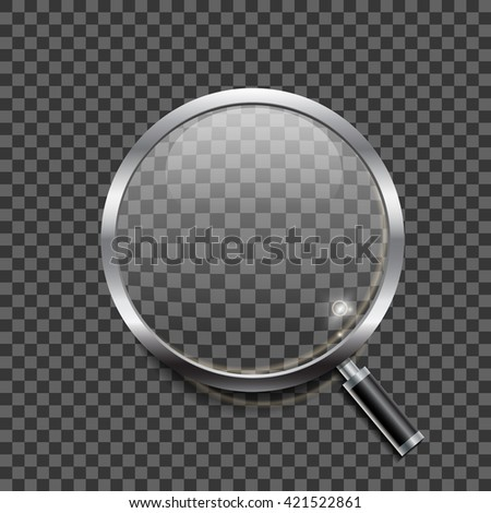 Realistic magnifying glass icon on black background
