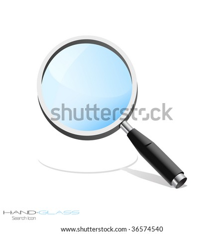 Realistic magnifying glass, no mesh. Icon.Vector illustration.