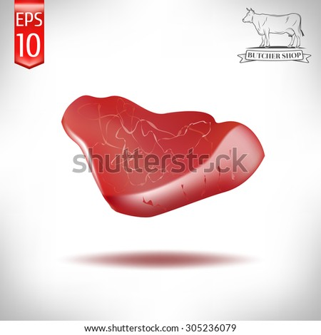 realistic meat of pork on a white background