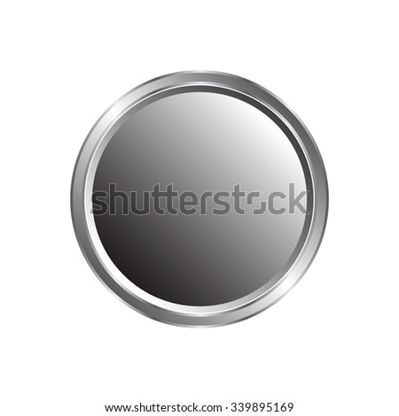 Realistic metal button. Vector illustration
