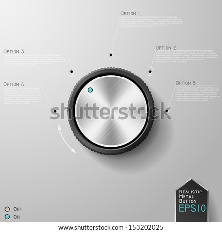 Realistic metal (chrome,steel) button with on/off indicators for your design